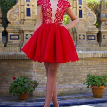 Red Homecoming Dress, Lace Tulle Scoop Neck Homecoming  Dress, Short Prom Dress