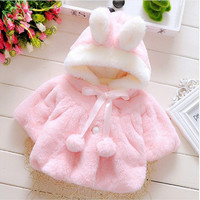 Girls Rabbit Ear Fleece Coat