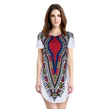 Fashion Women Summer Short Sleeve Chiffon Dress Vestidos Lady Casual Loose Mini Ethnic Floral Print Dresses Party Plus Size