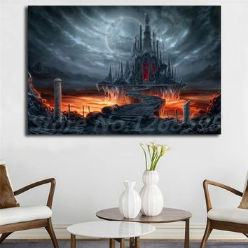 Skyrim Gothic Castle Dark Moon Raven Wallpaper Canvas Posters Prints Wall Art Painting Decorative Picture Modern Home Decoration