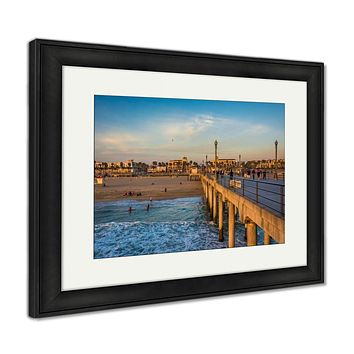 Framed Print, The Pier And View Of The Beach At Sunset In Huntington Beach C
