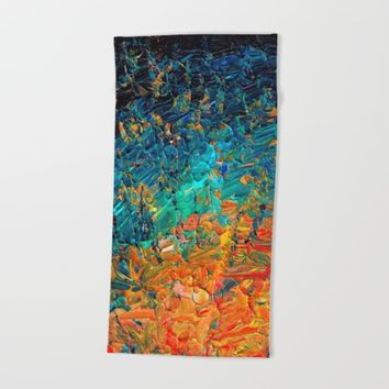 ETERNAL TIDE 2 Rainbow Ombre Ocean Waves Abstract Acrylic Painting Summer Colorful Beach Blue Orange Beach Towel by EbiEmporium