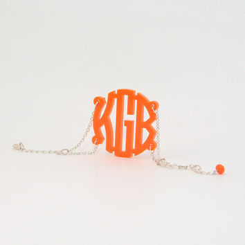 Monogram Bracelet Orange Charm - Customize with name initials - handcrafted jewellery