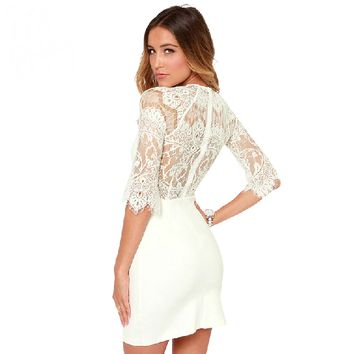 Elegant Slim Lace Mid Sleeve Wrap Dress