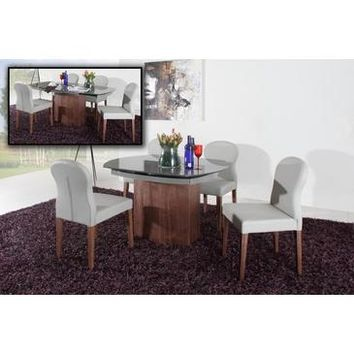 VIG Modrest Swing - Modern Walnut Veneer Dining Table In Grey