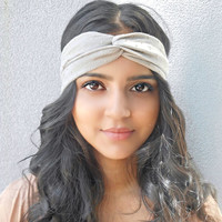 Taupe and Gold Studded Turban Headband Hippie Headband Bohemian Headwrap Hair Accessories