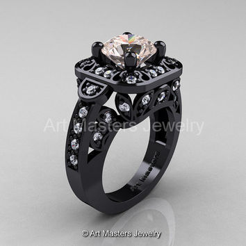 Art Masters Classic 14K Black Gold 2.0 Ct Morganite Diamond Engagement Ring Wedding Ring R298-14KBGDMO