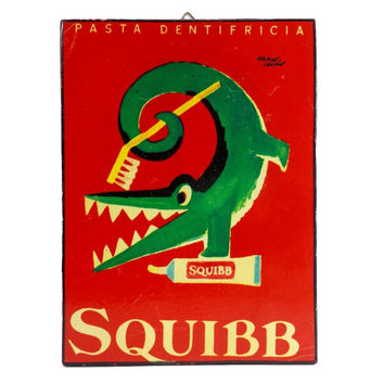 French Squibb Toothpaste Advertisement Plaque Vintage Pasta Dentifricia Alligator Retro Bathroom Kids Nursery Room Wall Decor Dentist Office