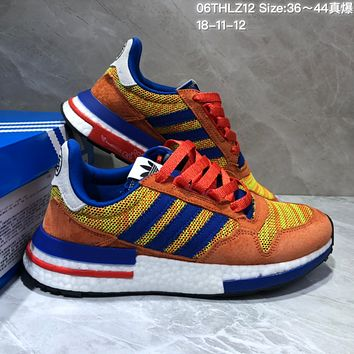 DCCK A353 Adidas Dragon Ball Z x Adidas ZX500 RM Boost SON GOKU Running Shoes Orange Blue Yellow