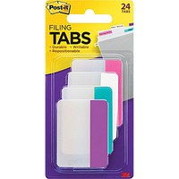 Post-it® 2 Durable Filing Tabs, Assorted Colors, 24 Tabs/Pack