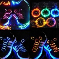 NEW! LED Battery Powered Glow in the Dark Shoelaces Shoe RAVE PARTY NIGHT SHINE