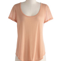 ModCloth Travel Mid-length Short Sleeves Iced Mint Tee in Peach