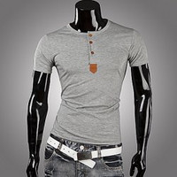Light Gray Leather Buttons Short Sleeves T-shirt