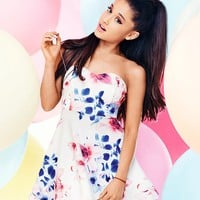 Ariana Grande For Lipsy Floral Bandeau Prom Dress
