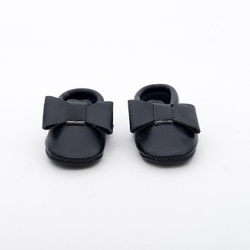Ribbon Baby Leather Moccasins Black Beauty