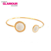 Gold Duellette Gem Bangle (druzy and opal inlay)