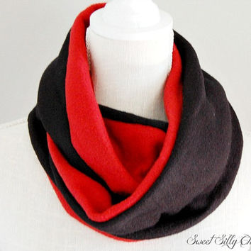 Red and Black Fleece Infinity Scarf, Fall Winter Scarf, Unisex, Team Scarf