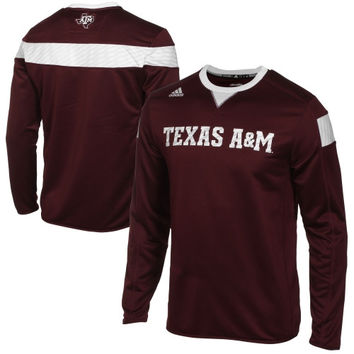 adidas Texas A&M Aggies Performance Crew Neck Sideline Long Sleeve T-Shirt - Maroon