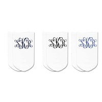 Personalized Custom Golf Socks: Monogram Vine Initials No-Show Socks by Sockprints - MEDIUM - Womens White Socks - Cotton - Eco-friendly - 3 pair set
