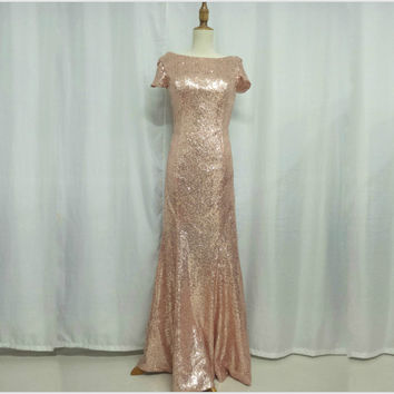 Boat Neck Floor Length Cap Sleeves Sequin Formal Occasion Dress Wedding Guest Dress Prom Dress