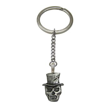 Skull with Hat Pendant Keychain