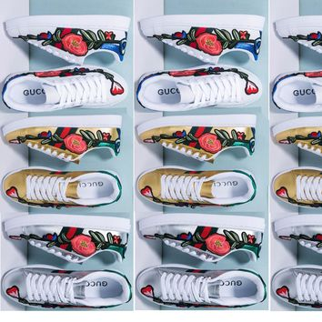 Summer11 Gucci Ace embroidered low-top sneaker Boy And Girl Shoes