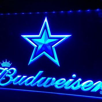 LS423-b Dallas Cowboys Budweiser Bar 3D LED Neon Light Sign Customize on Demand 8 colors to choose