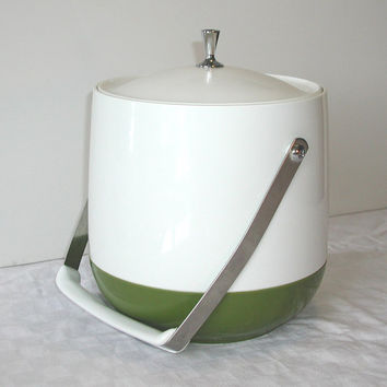 Green & White Thermos Thermal Ice Bucket - Vintage 5 Quart Servall