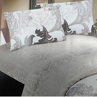DaDa Bedding Elegant Jacquard Paisley Floral Leaves Duvet Cover & Pillow Cases Set (DCM8197)