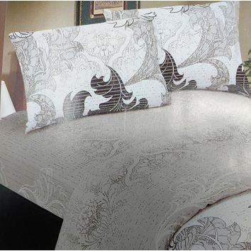 DaDa Bedding Paisley Grey Floral Leaves Fitted Sheet & Pillow Cases Set (FTS8197)