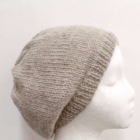 Wool beanie beret hat 100 % wool un-dyed yarn hand knitted 4789