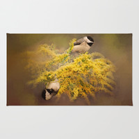 Pot of Gold - Chickadees - Song Birds - Wildlife Area & Throw Rug by Jai Johnson