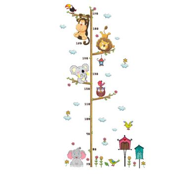 Cartoon Animals Wall Sticker Kids Height Measuring Wallpaper Baby Children Room Wall Decal Decorations Removable Wall Stickers