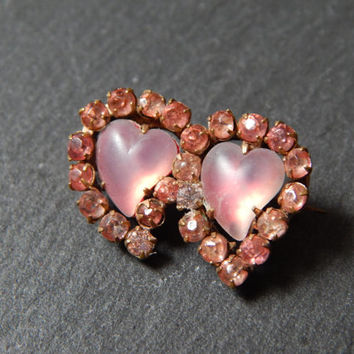 Romantic Edwardian Saphiret Double Pink Paste Heart Brooch