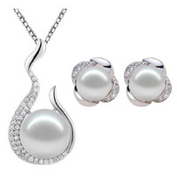 Natural Pearls cast on  925 Sterling Silver Earring and Necklace Set