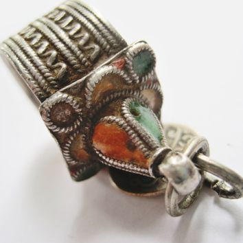 Vintage Silver and Enamel Moroccan Berber Tower Ring with Coin
