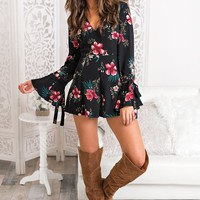 Locked In Love Floral Romper (Black)
