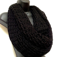 Unisex Black Infinity Crochet Scarf. Winter and Spring Fashion Scarf