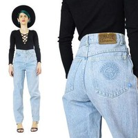 80s 90s Mom Jeans Vintage PUMA High Waisted Jeans Grunge Tapered Leg Jeans Slim Fit Li