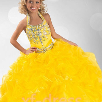 2016 Girls Pageant Dresses Ball Gown Halter Yellow Beaded Organza RufflesTutu Little Baby Flower Girl Dresses For Weddings