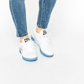 Reebok White Work Out Clean With Blue Gum Sole at asos.com