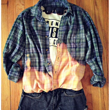Flannel Plaid Shirt 90s Button Up Grunge Bleach Dye Dipped Oversized Long Sleeve Vintage Lumberjack Slouchy Men Womans grungy XL L M