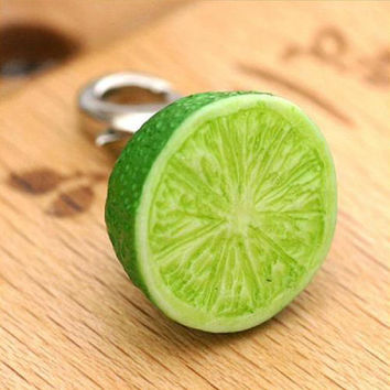 Delicious Kawaii Juicy Citrus Lime Lemon Miniature Food Fruit Sample Cell Phone Mobile Charm Strap Jewellery Accessory Necklace 7-FRPM021