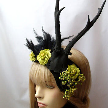 Horned Head Piece Black Antlers Gothic Headdress