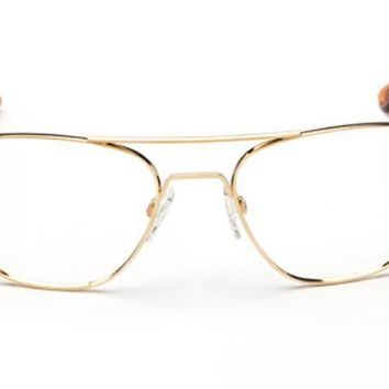 Randolph Aviator 23k Gold Plated RX Glasses, Clear Demo Lenses