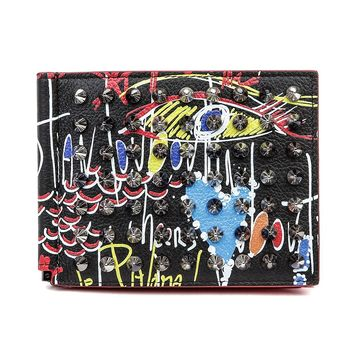 Wiberlux Christian Louboutin Men's Graffiti Pattern Studded Money Clip Wallet
