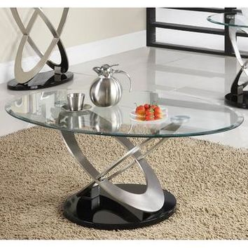 Homelegance Firth Oval Glass Cocktail Table in Chrome & Black Metal