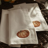 PUMPKIN EMBROIDERED NAPKINS, SET OF 4