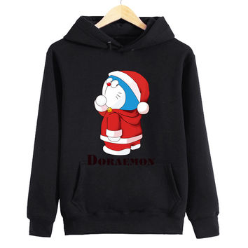 Santa Doraemon Women's & Men's Unisex Casual Black Christmas Pullover Hoodie