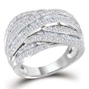 10kt White Gold Womens Baguette Round Diamond Crossover Strand Band Ring 1-1/2 Cttw